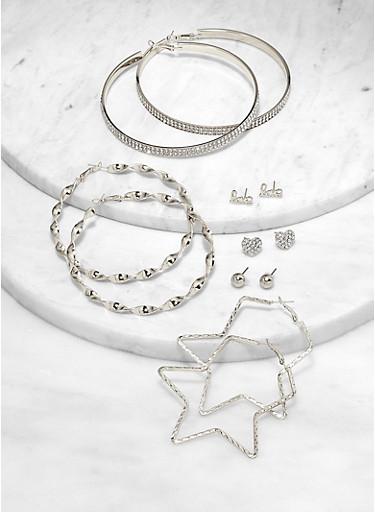 Love Stud and Star Hoop Earrings Set,SILVER,large