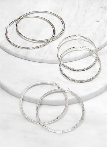 Assorted Rhinestone Flat Hoop Earring Trio,SILVER,large