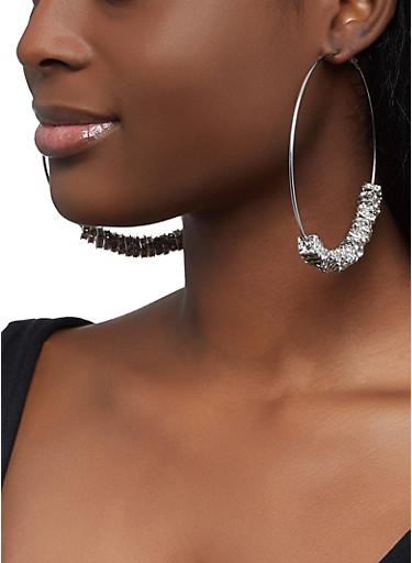 Square Rhinestone Bead Hoop Earrings,SILVER,large