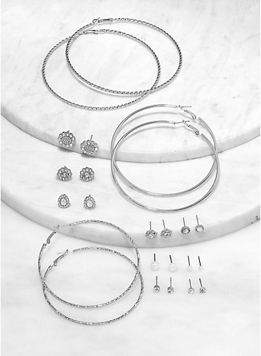 Faux Pearl Stud and Textured Metallic Hoop Earrings Set,SILVER,large