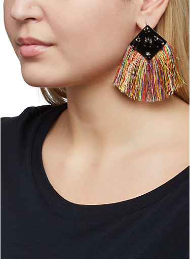Rhinestone Multi Color Fringe Earrings,BLACK,large