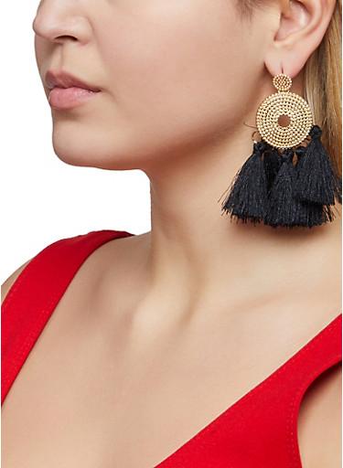 Textured Metallic Five Tassel Earrings,BLACK,large