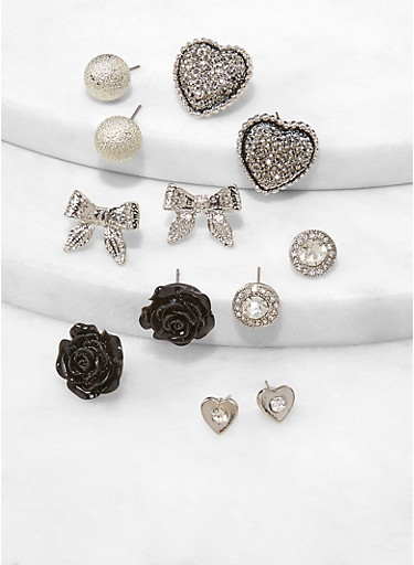 Bow Rose Stud Earrings Set,BLACK,large