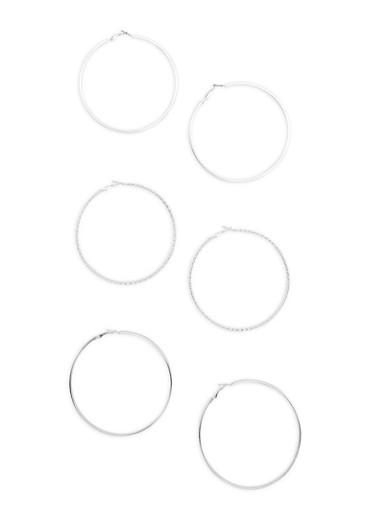 Set of 3 Large Textured Glitter Hoop Earrings,SILVER,large