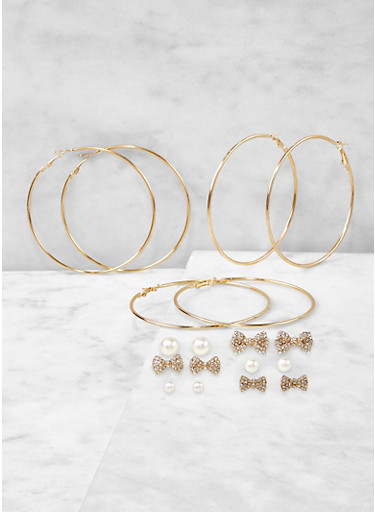 Assorted Bow Stud and Hoop Earrings Set,GOLD,large