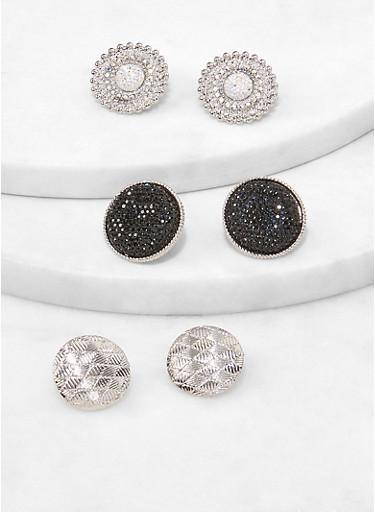 Metallic Disc Stud Earrings,SILVER,large