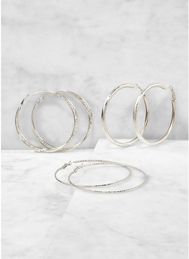 Trio of Metallic Hoop Earrings,SILVER,large