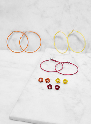 Set of 6 Colored Hoop and Stud Earrings,TRITONE (SLVR/GLD/HEMAT),large