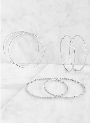 Oversized Metallic Hoop Earring Trio,SILVER,large