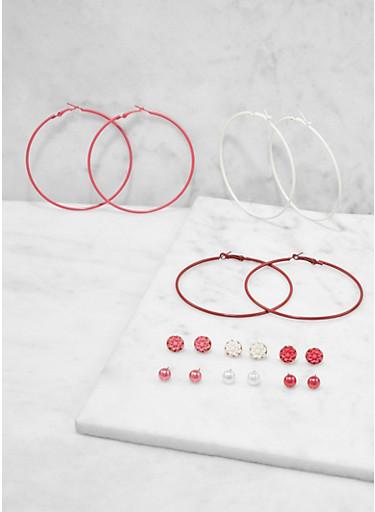Set of 9 Colored Hoop and Stud Earrings,TRITONE (SLVR/GLD/HEMAT),large