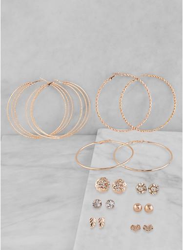 Set of 9 Hoop and Rhinestone Stud Earrings,ROSE,large