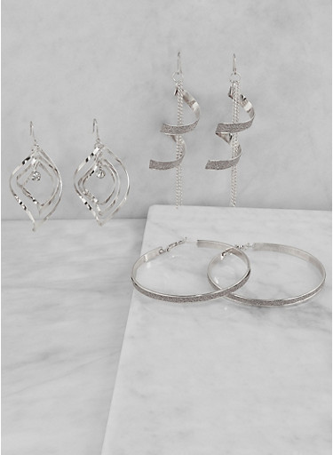 Glitter Drop and Hoop Earring Trio,SILVER,large
