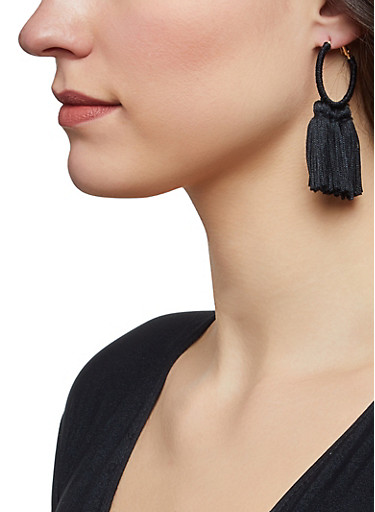 Tassel Wrapped Hoop Earrings,BLACK,large
