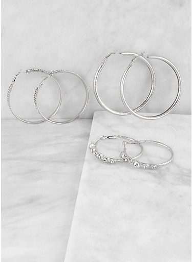 Trio of Rhinestone Studded Hoop Earrings,SILVER,large