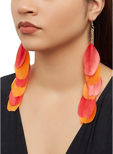 Feather Chain Drop Earrings,RED,large