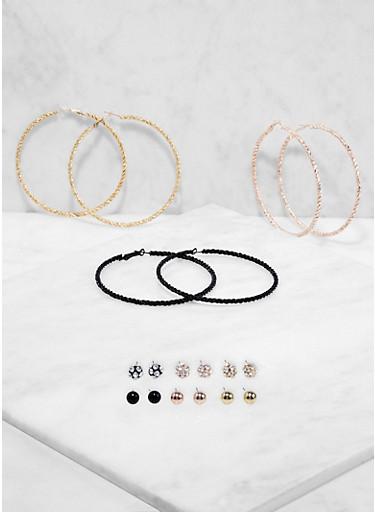 Set of 9 Metallic Twisted Hoop and Stud Earrings,TRITONE (SLVR/GLD/HEMAT),large