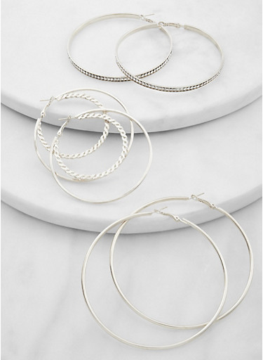 Assorted Metallic Hoop Earring Trio,SILVER,large