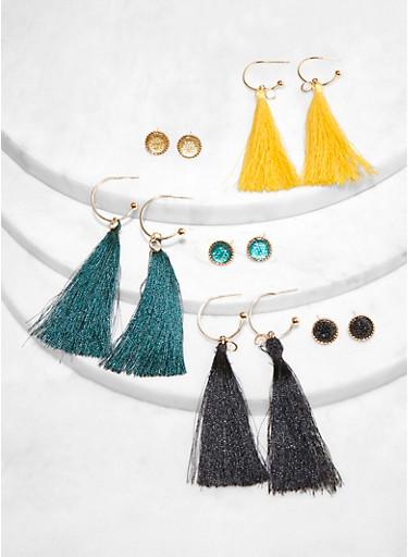 6 Pave Stud and Tassel Earrings Set,BLACK,large
