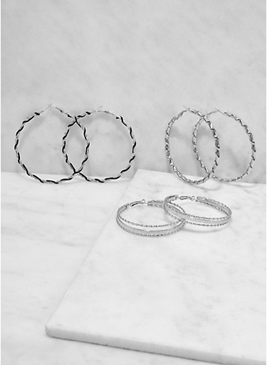 Wrapped Metallic Hoop Earring Trio,SILVER,large