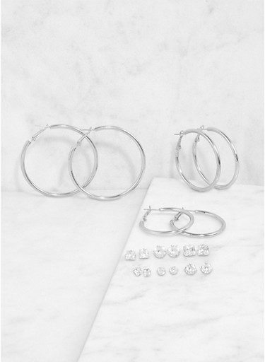 Rhinestone Stud and Hoop Earrings Set,SILVER,large