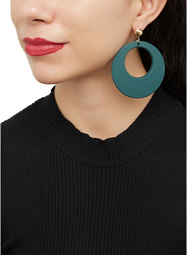 Plastic Matte Hoop Earrings,GREEN,large