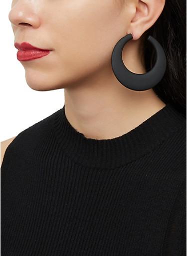 Matte Hoop Earrings,BLACK,large