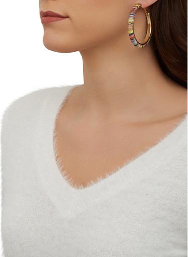 Multi Color Woven Hoop Earrings,YELLOW,large