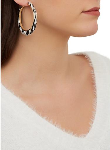 Resin Hoop Earrings,WHITE,large