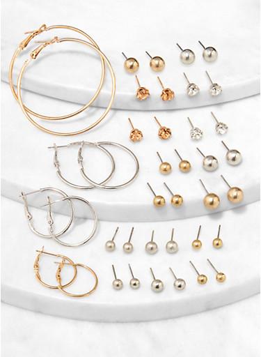 Ball Stud and Hoop Earrings Set,TRITONE (SLVR/GLD/HEMAT),large