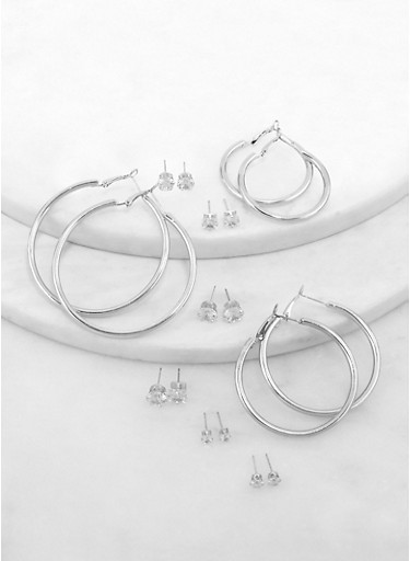 Variegated  Hoop and Stud Earrings Set,SILVER,large