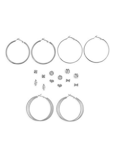 Glitter Rhinestone Stud and Hoop Earrings Set,SILVER,large