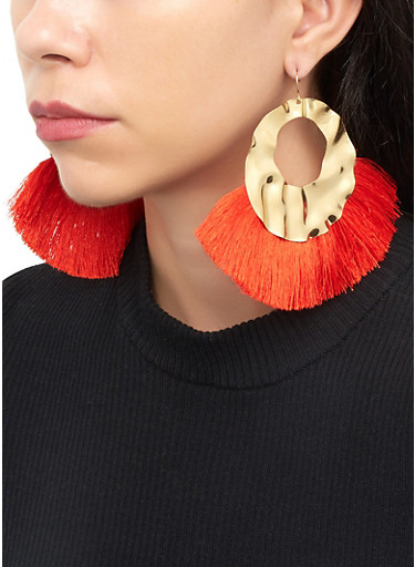 Fringe Hammered Metallic Earrings,RED,large