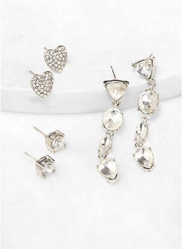 Geometric Rhinestone Drop and Stud Earrings,SILVER,large