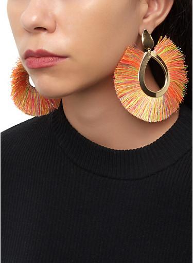 Fringe Fan Drop Earrings,NEON PINK,large