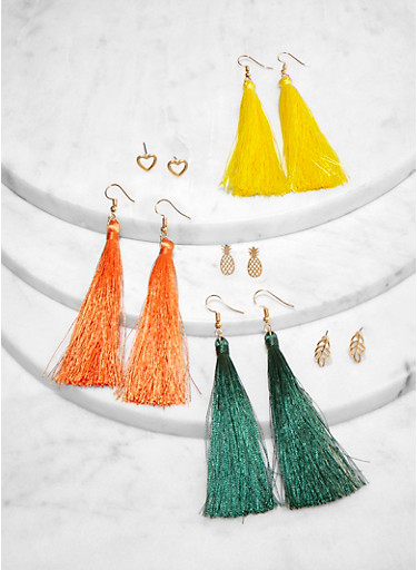 6 Assorted Tassel and Stud Earrings,TAN,large