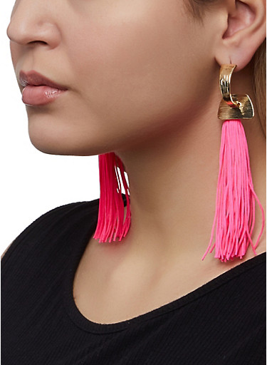 Neon Tassel Earrings,NEON PINK,large