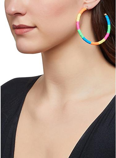 Multi Color Beaded Hoop Earrings,NEON PINK,large
