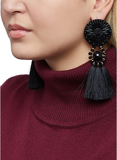 Tassel Beaded Disc Earrings,BLACK,large