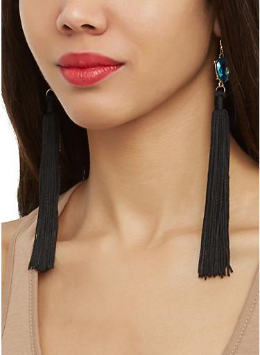 Jeweled Tassel Earrings,BLACK,large