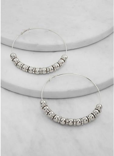 Beaded Hoop Earrings,SILVER,large