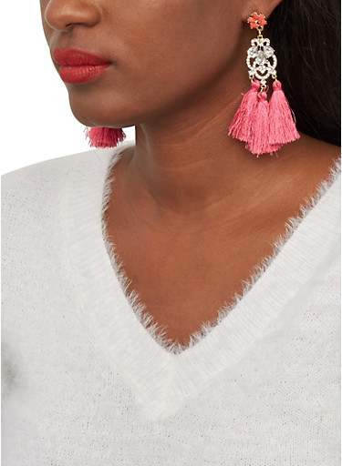 Triple Tassel Rhinestone Drop Earrings,FUCHSIA,large