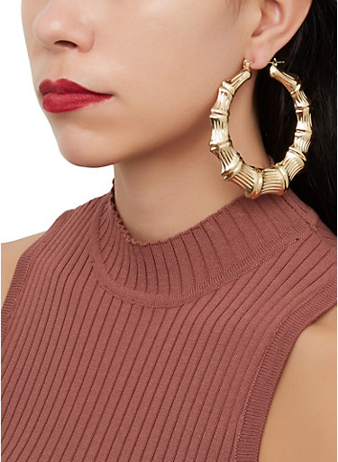 Metallic Bamboo Hoop Earrings,GOLD,large