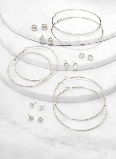 Set of 9 Basic Hoop and Stud Earrings,SILVER,large