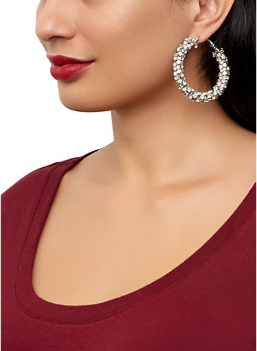 Rhinestone Wrapped Hoop Earrings | 1122074974137,SILVER,large