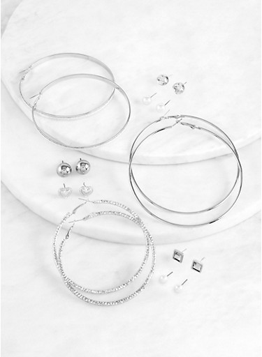 Glitter Textured Hoop and Stud Earrings,SILVER,large