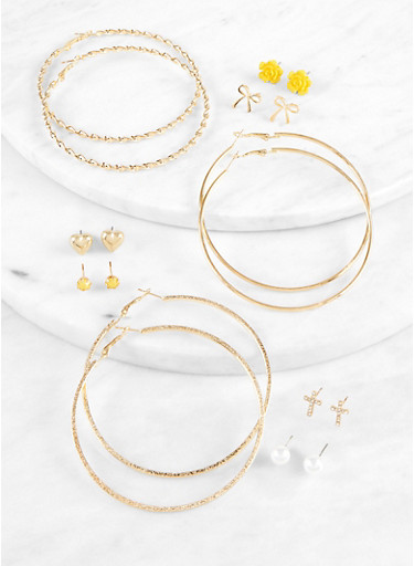 Heart Metallic Stud and Hoop Earrings Set,MUSTARD,large