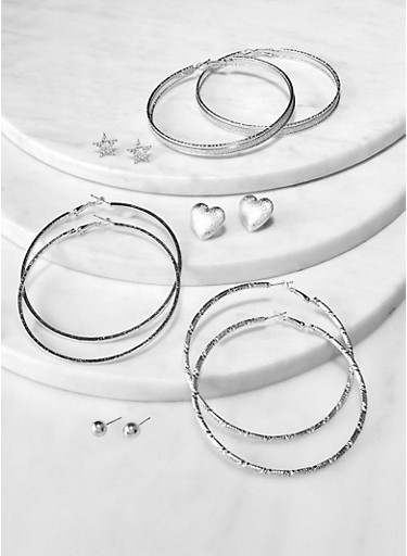 6 Assorted Hoop and Star Stud Earrings,SILVER,large