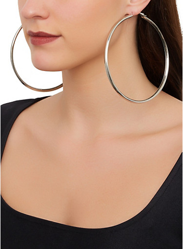 Oversized Tube Hoop Earrings,SILVER,large