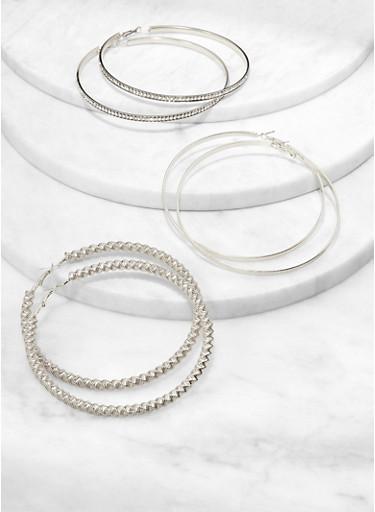 Oversized Trio of Metallic Hoop Earrings,SILVER,large