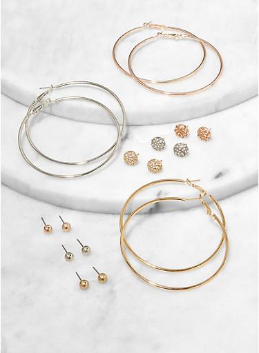 9 Assorted Hoop and Circle Stud Earrings,TRITONE (SLVR/GLD/HEMAT),large